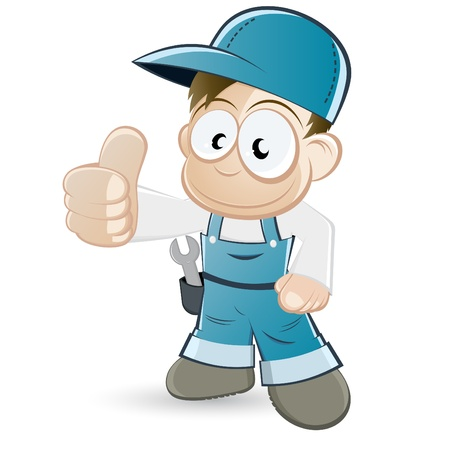 overall: funny cartoon mechanic