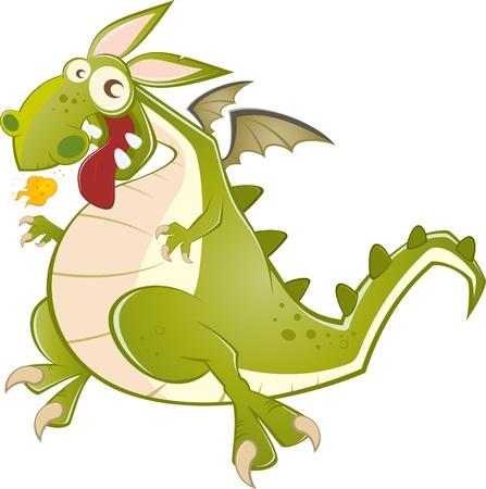 funny cartoon dragon Vector