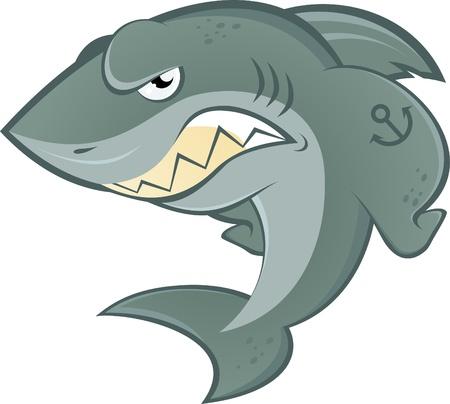 evil: angry cartoon shark Illustration