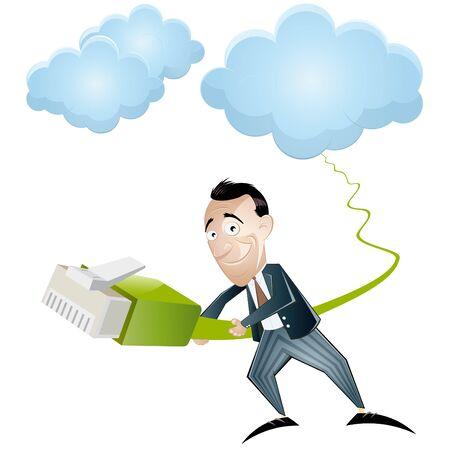 cloud computing cartoon Stock Vector - 10385788