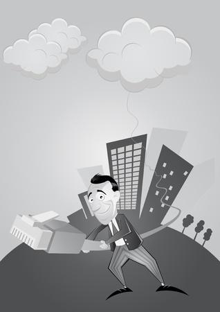 cloud computing cartoon Stock Vector - 10385793