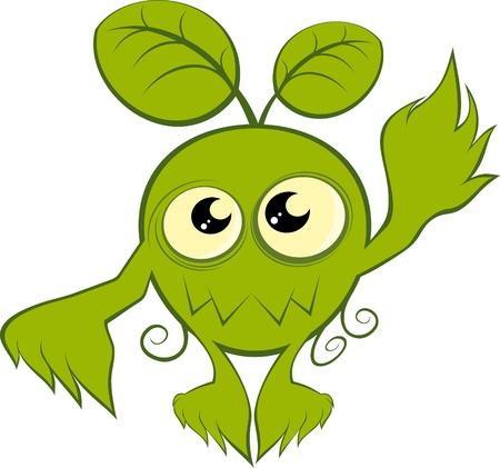 creepy monster: divertente cartone animato mostro pianta Vettoriali