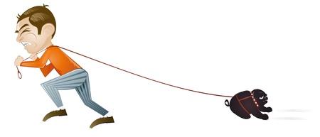 dem Hund spazieren gehen Karikatur Illustration