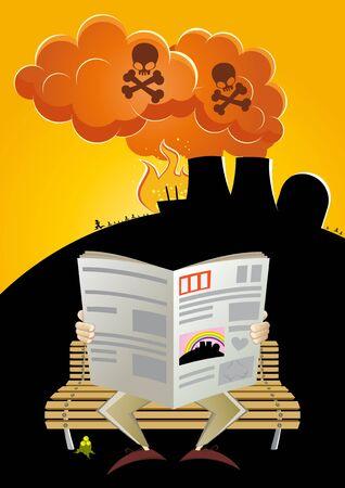 nuclear disaster cartoon Vector