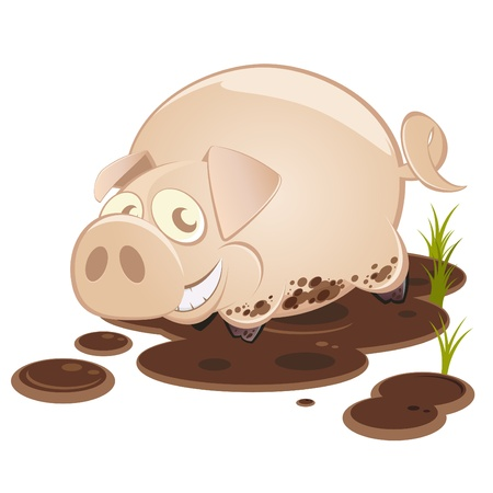 funny cartoon pig in mud Stock Vector - 10385776
