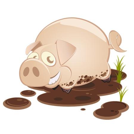 funny cartoon pig in mud Иллюстрация