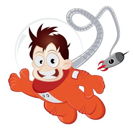 funny cartoon astronaut Vettoriali