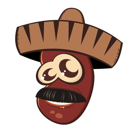 mexican art: fagiolo messicano divertente cartone animato Vettoriali