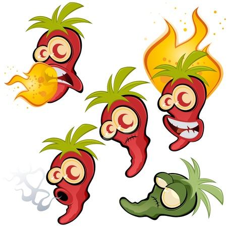 hot chili collectie Vector Illustratie