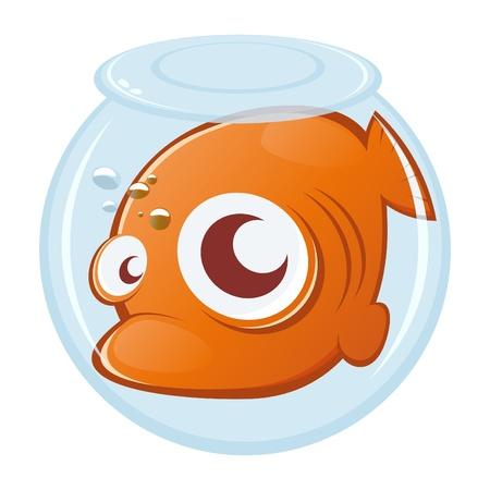 goldfish in uncomfortable aquarium Stock Vector - 10374139