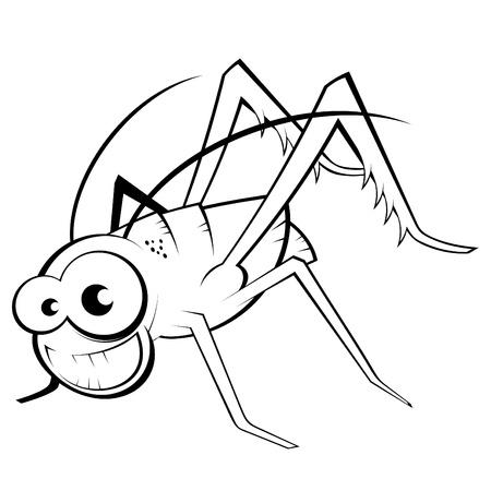 funny cartoon grasshopper Ilustração