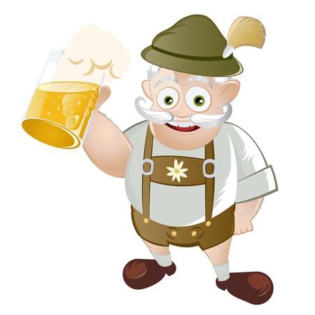 chope biere: dr�le caricature bavarois