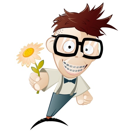 funny cartoon nerd with flower Stock Vector - 10374153