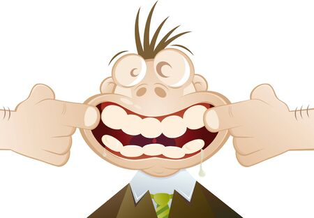 forced: funny cartoon man forced to smile Illustration