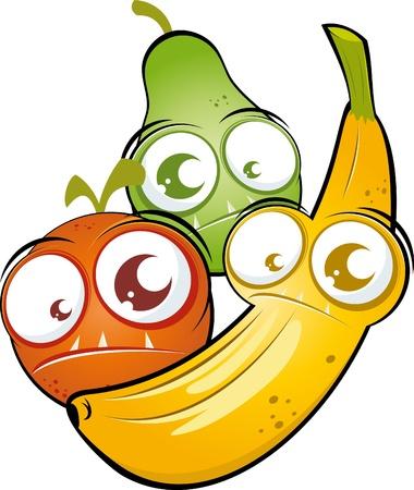 zabawna kreskówka owoc Ilustracje wektorowe