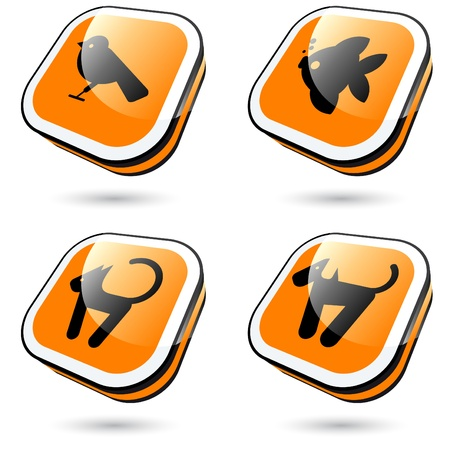 modern pet sign collection in 3D Vector
