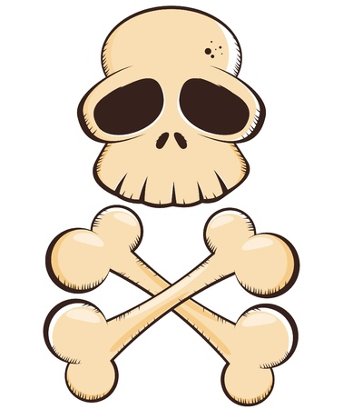 skull and crossed bones: dibujos animados calavera y tibias cruzadas