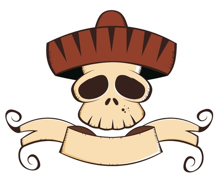 mexican cartoon skull Vector