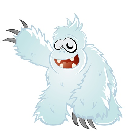amused: funny cartoon yeti Illustration