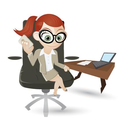 busy person: divertidos dibujos animados chica de negocio Vectores