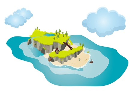 island clipart: funny cartoon island
