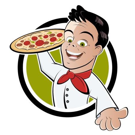 serviteurs: caricature de gar�on de pizza Illustration
