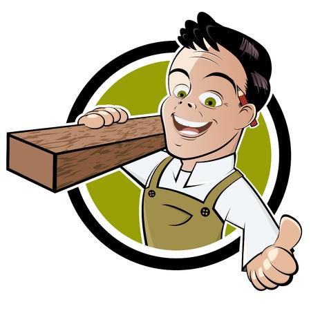 craftsmen: divertente cartone animato falegname Vettoriali