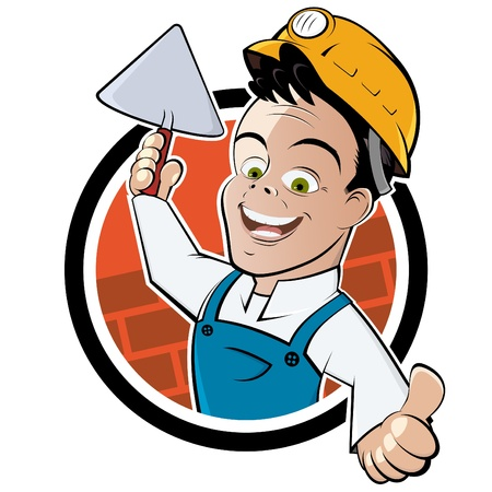 bricklayer: funny cartoon bricklayer Illustration