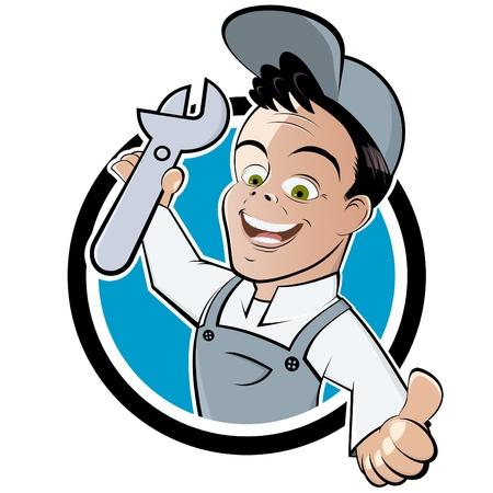 artesano: mecánico de dibujos animados divertidos