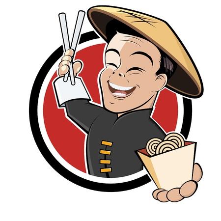 arroz chino: divertido restaurante chino de dibujos animados Foto de archivo