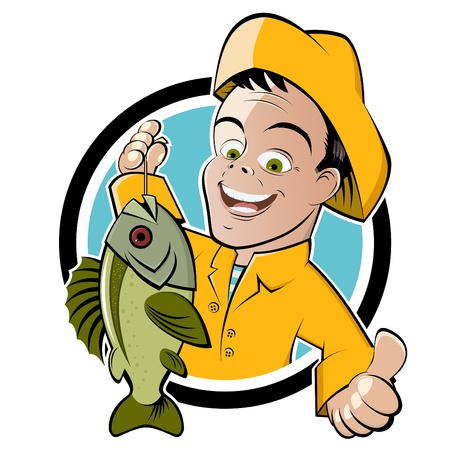 pescador: pescador de divertidos dibujos animados