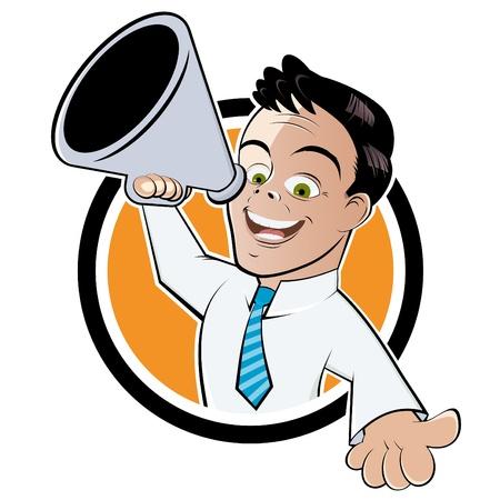 hombre megafono: el hombre meg�fono divertida Vectores