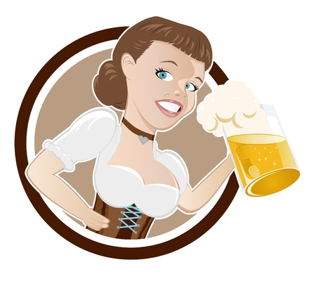 cartoon girl in dirndl with beer Vector