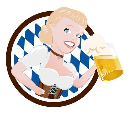 chope biere: fille de bande dessin�e dans le dirndl avec de la bi�re Illustration