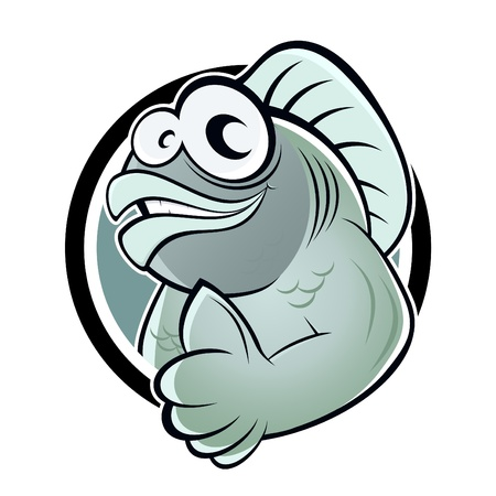 fish icon: funny cartoon fish Illustration