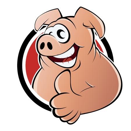 chancho caricatura: cerdo de dibujos animados divertidos Vectores