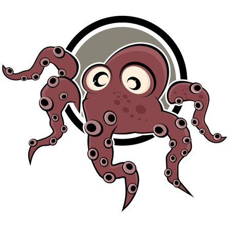 funny cartoon octopus Vector
