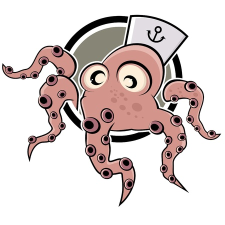 sailor hat: funny cartoon octopus with hat