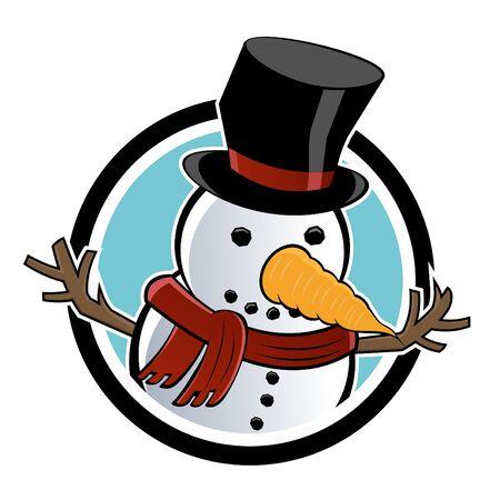 funny cartoon snowman Vector