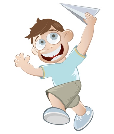 cartoon boy with paper plane Stock Vector - 12463463