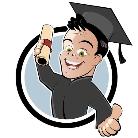 master degree: happy cartoon degree holder Illustration