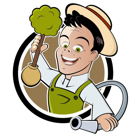 glücklicher Karikatur-Gärtner