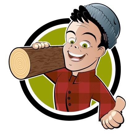 grappige cartoon houthakker Stock Illustratie