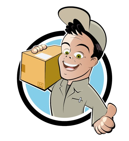 package icon: funny parcel service cartoon