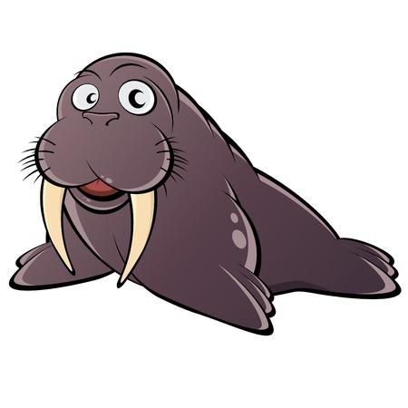 tusks: funny cartoon walrus