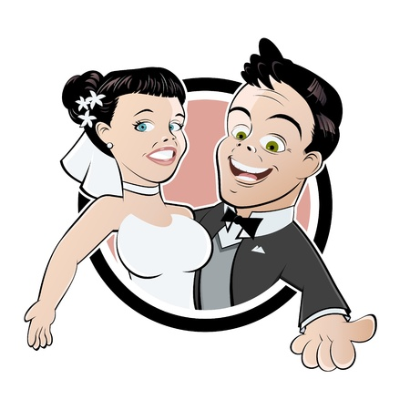 grappige bruiloft cartoon Stock Illustratie