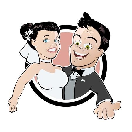 Lustige Hochzeits-Karikatur