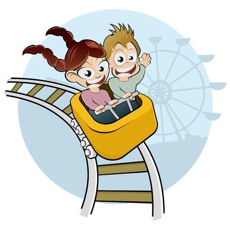 amusement park ride: cartoon kids on rollercoaster