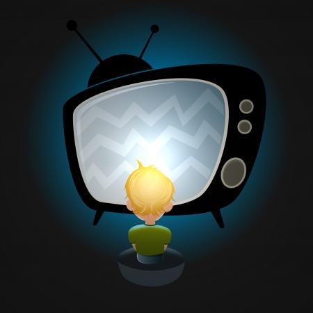 Junge vor dem Fernseher Lizenzfreie Bilder