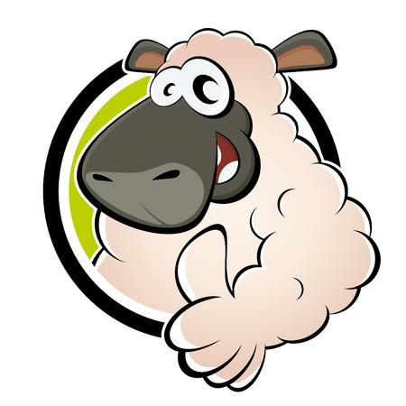 and sheep: ovejas divertida caricatura Vectores